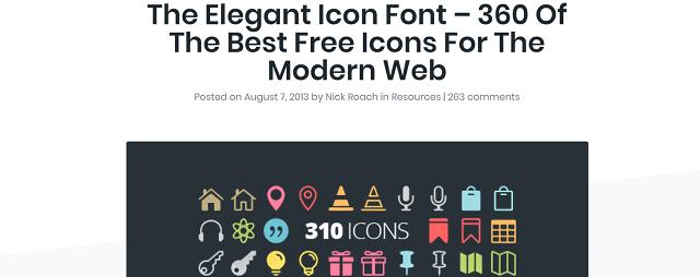 無料で使えるアイコン素材のElegant Icon Font